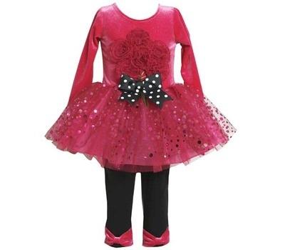 a5e276d8375 Bonnie Jean Toddler Bouquet-Appliqued Dress   Bow-Accented Leggings Set